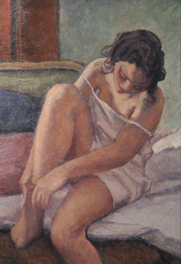 Camil Ressu - Femeie trăgându-și ciorapul